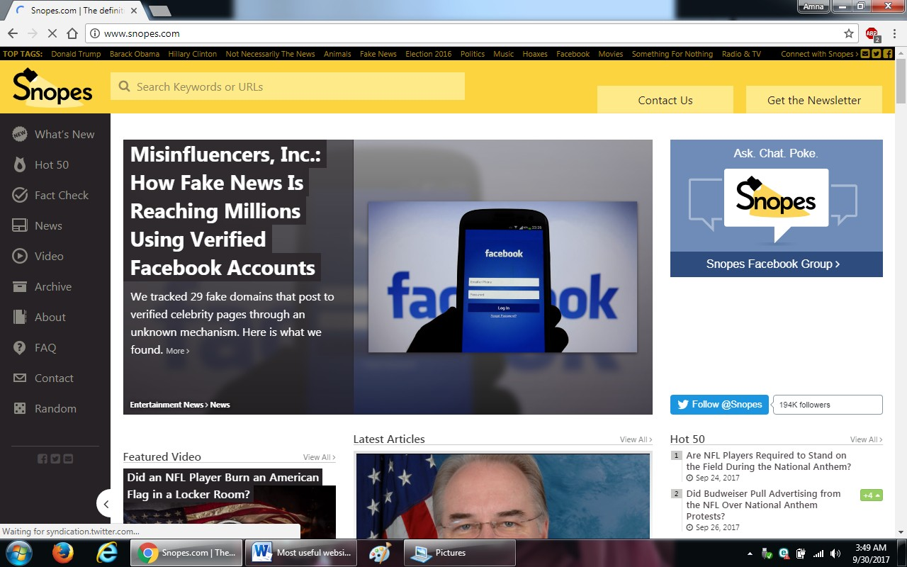 13. snopes - 100+ most useful websites list we are not yet familiar with