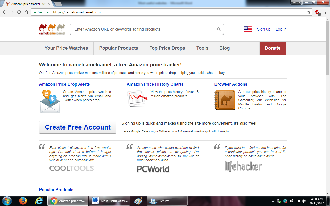 24. camelcamelcamel - 100+ most useful websites list we are not yet familiar with