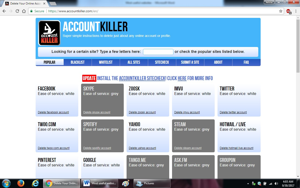 25. accountkiller - 100+ most useful websites list we are not yet familiar with