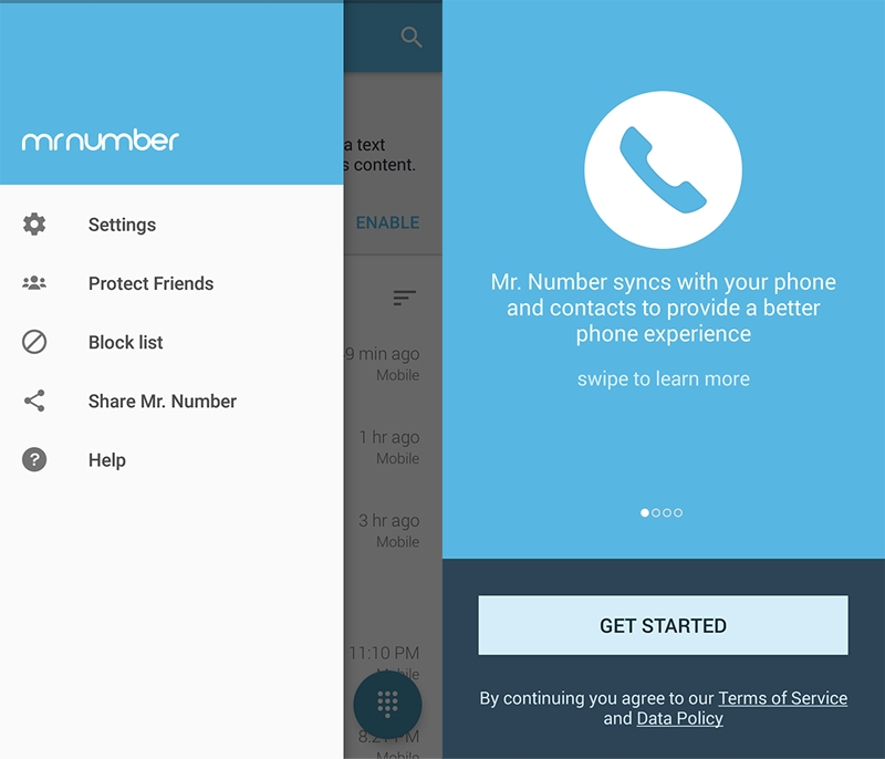 block numbers with mr number app