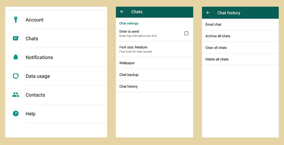 clear whatsapp chat in android