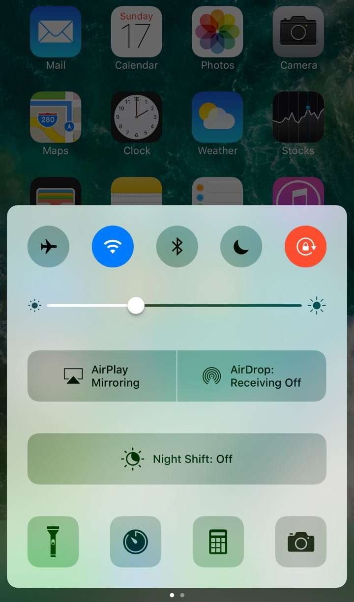 control center to stop rotation