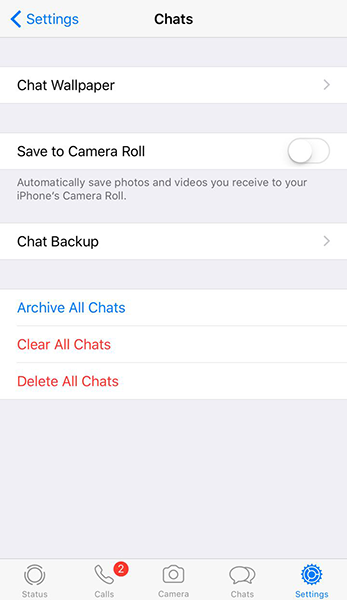 delete whatsapp chat history in iphone
