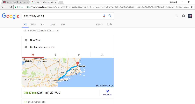 google flight information feature