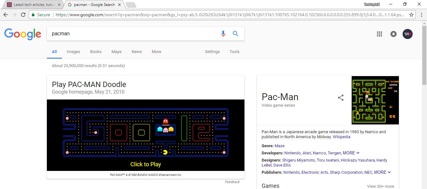 play pacman on google