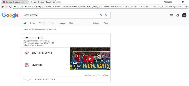 recent match score in google