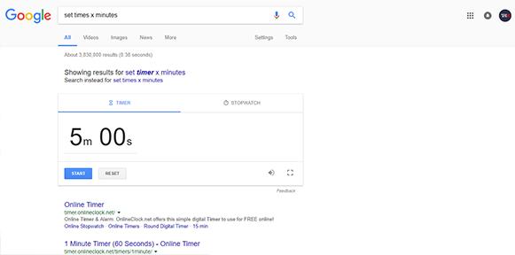 set timer x minutes in google