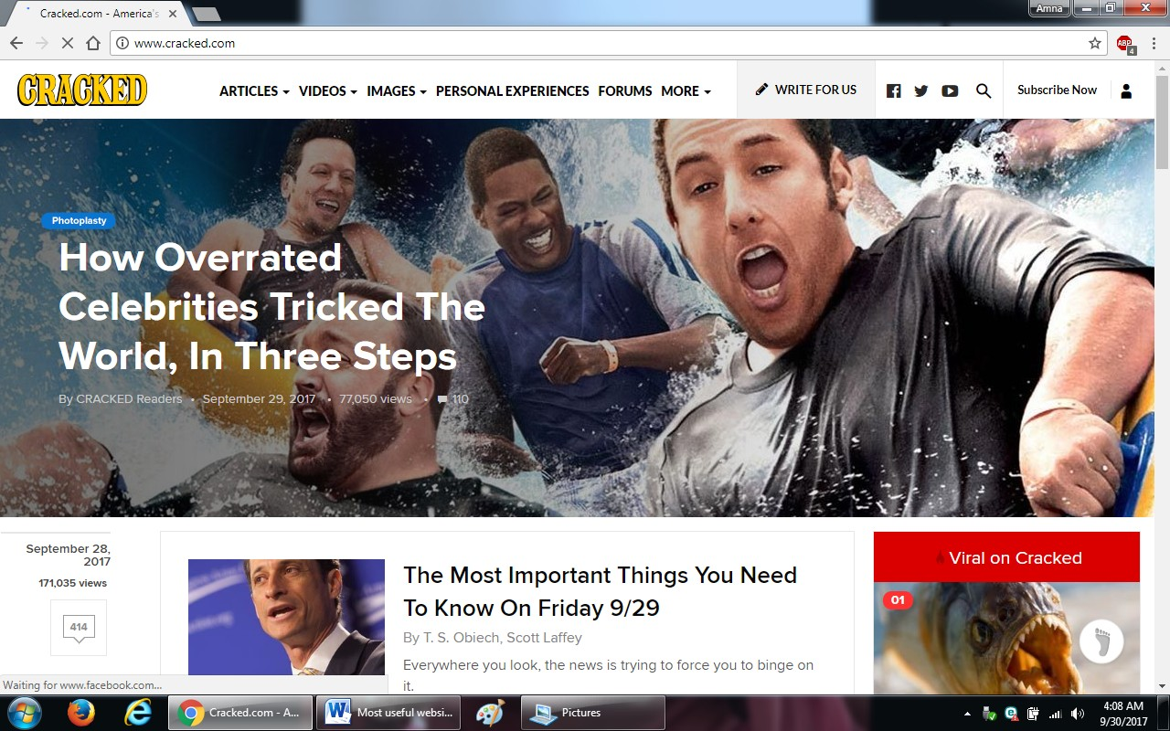 29. cracked.com  - 100+ most useful websites list we are not yet familiar with