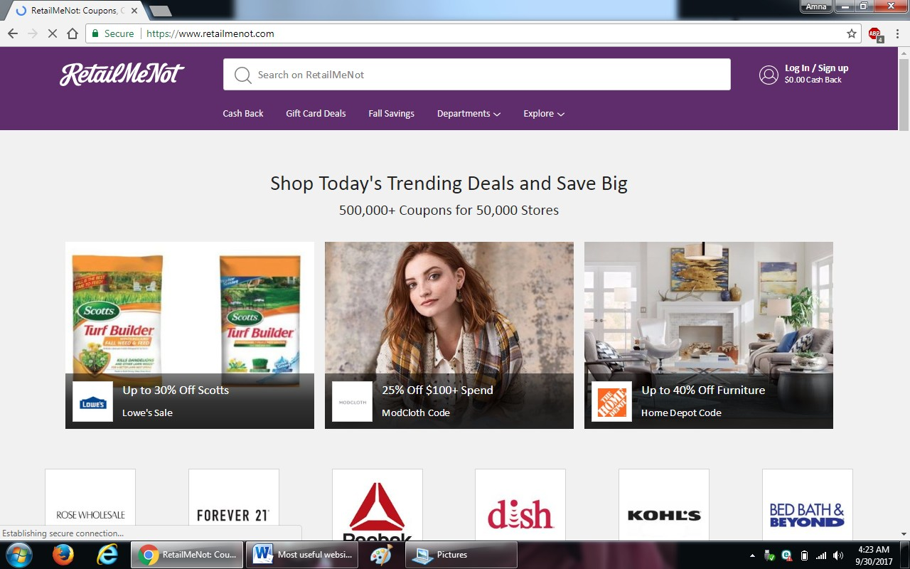 40. retailmenot.com  - 100+ most useful websites list we are not yet familiar with