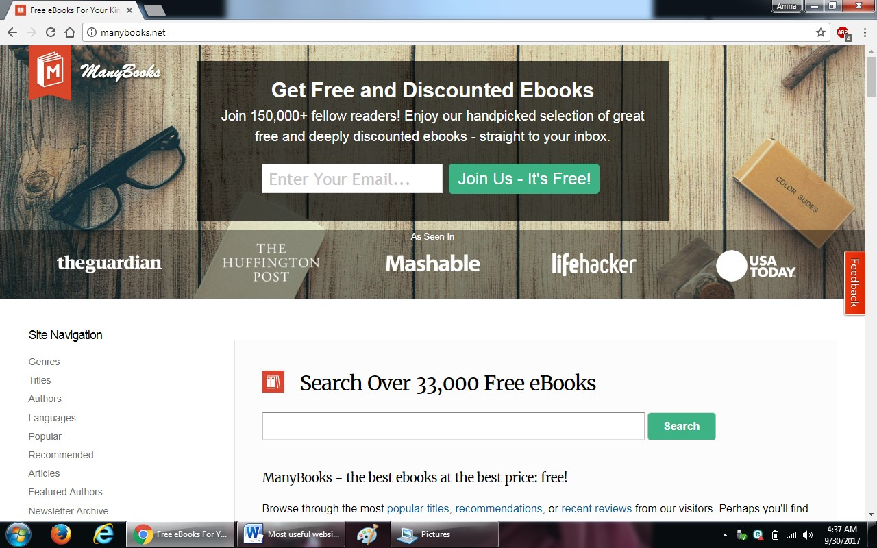50. manybooks.com  - 100+ most useful websites list we are not yet familiar with