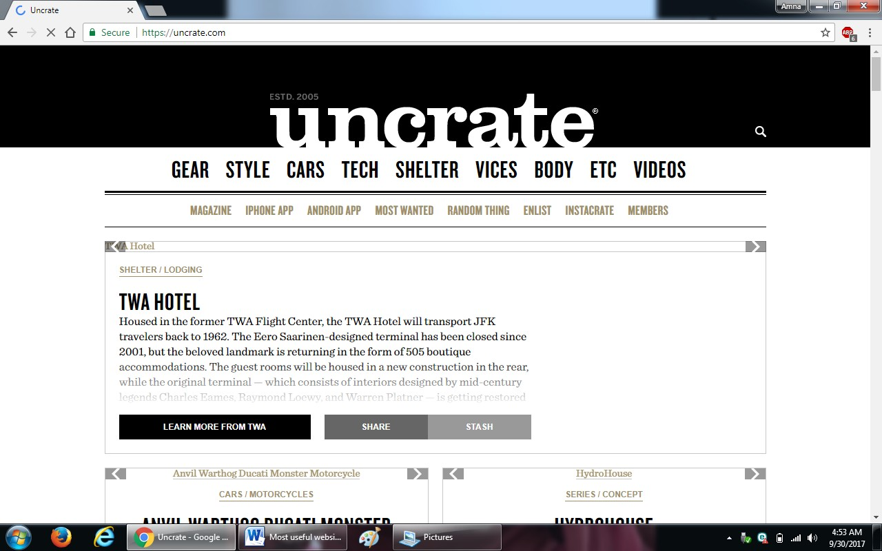 62. uncrate.com  - 100+ most useful websites list we are not yet familiar with