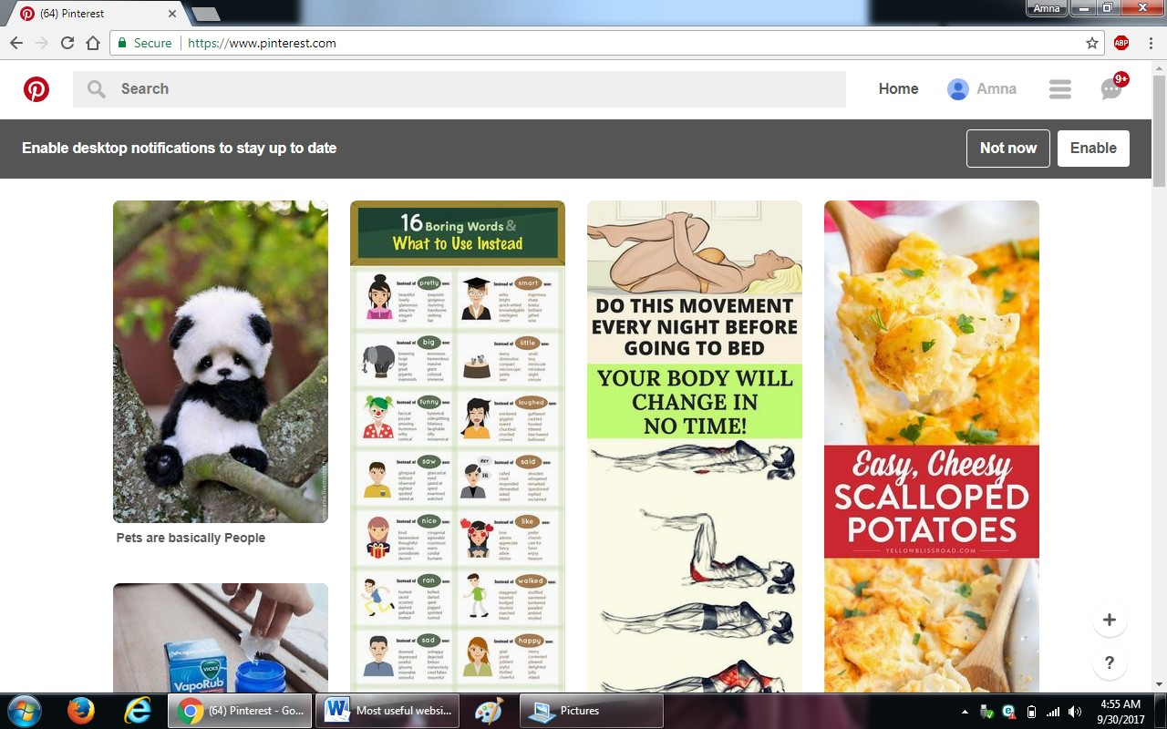 63. pinterest.com  - 100+ most useful websites list we are not yet familiar with