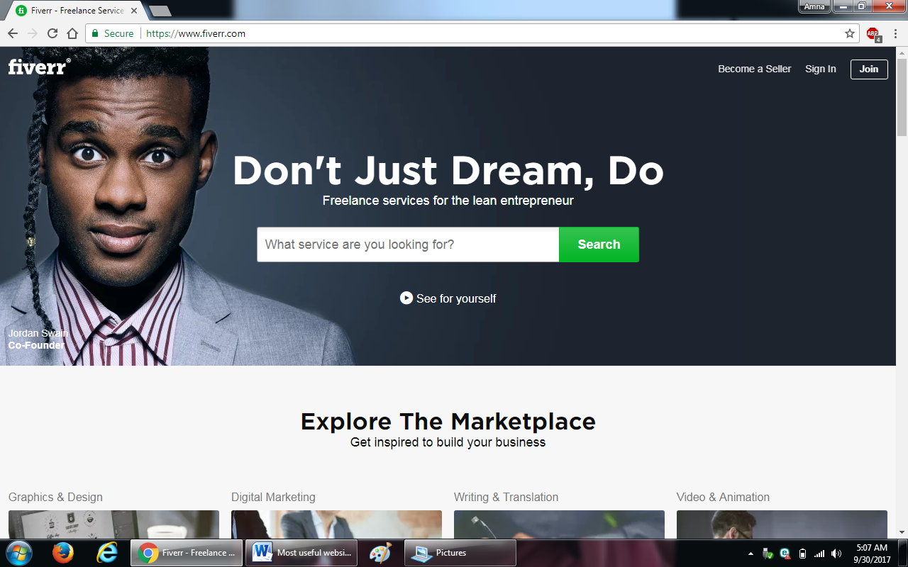 71. fiverr - 100+ most useful websites list we are not yet familiar with