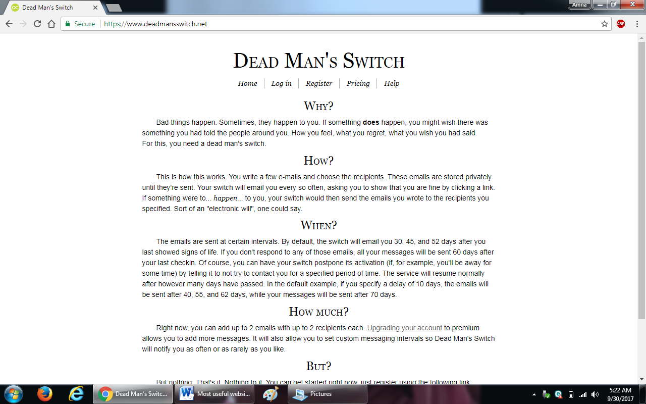 82. deadmansswitch.com  - 100+ most useful websites list we are not yet familiar with