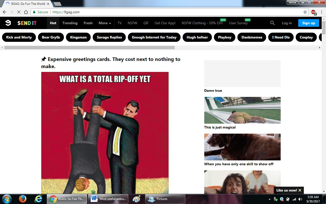 98. 9gag.com  - 100+ most useful websites list we are not yet familiar with
