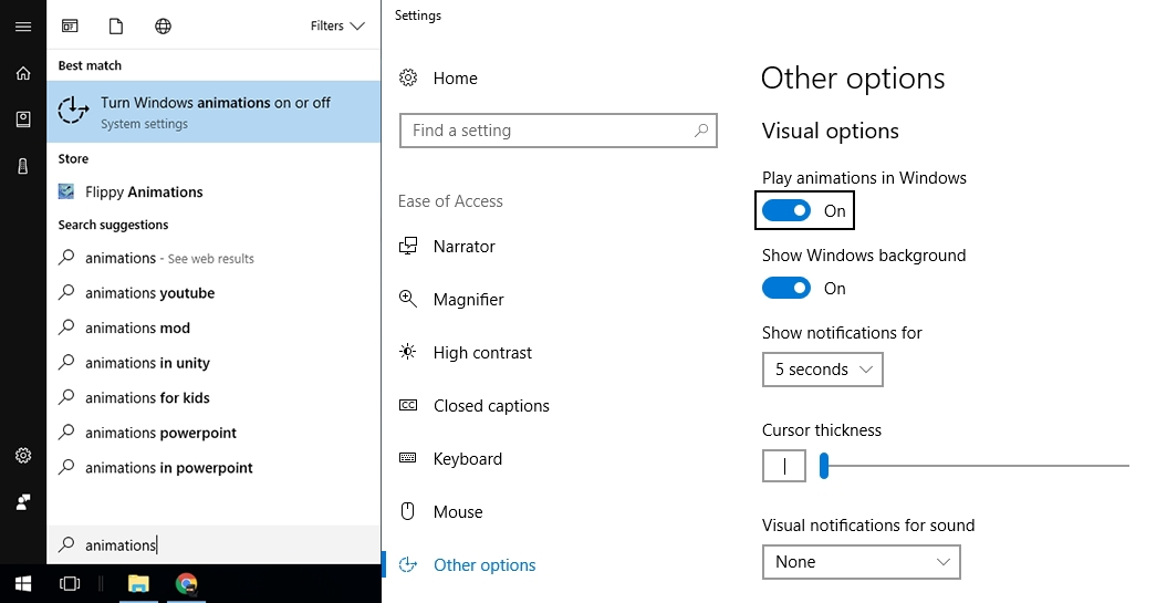 disable animations in windows 10 from settings - Disable Animations in Windows 10 - Operating System