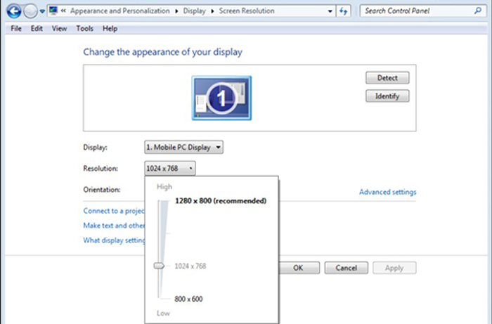 how to change screen resolution windows 8
