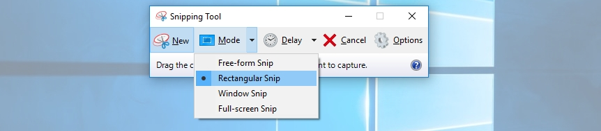 select rectangular snip - How to take screenshots in Laptop on windows 10