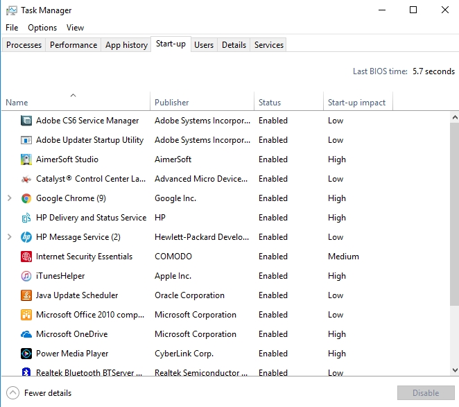 start up tab in task manager - Disable Startup Programs in Windows 10 - Operating System