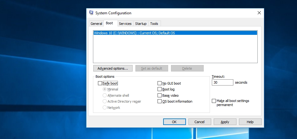 system confuration boot options - Start Your PC in Safe Mode in Windows 10