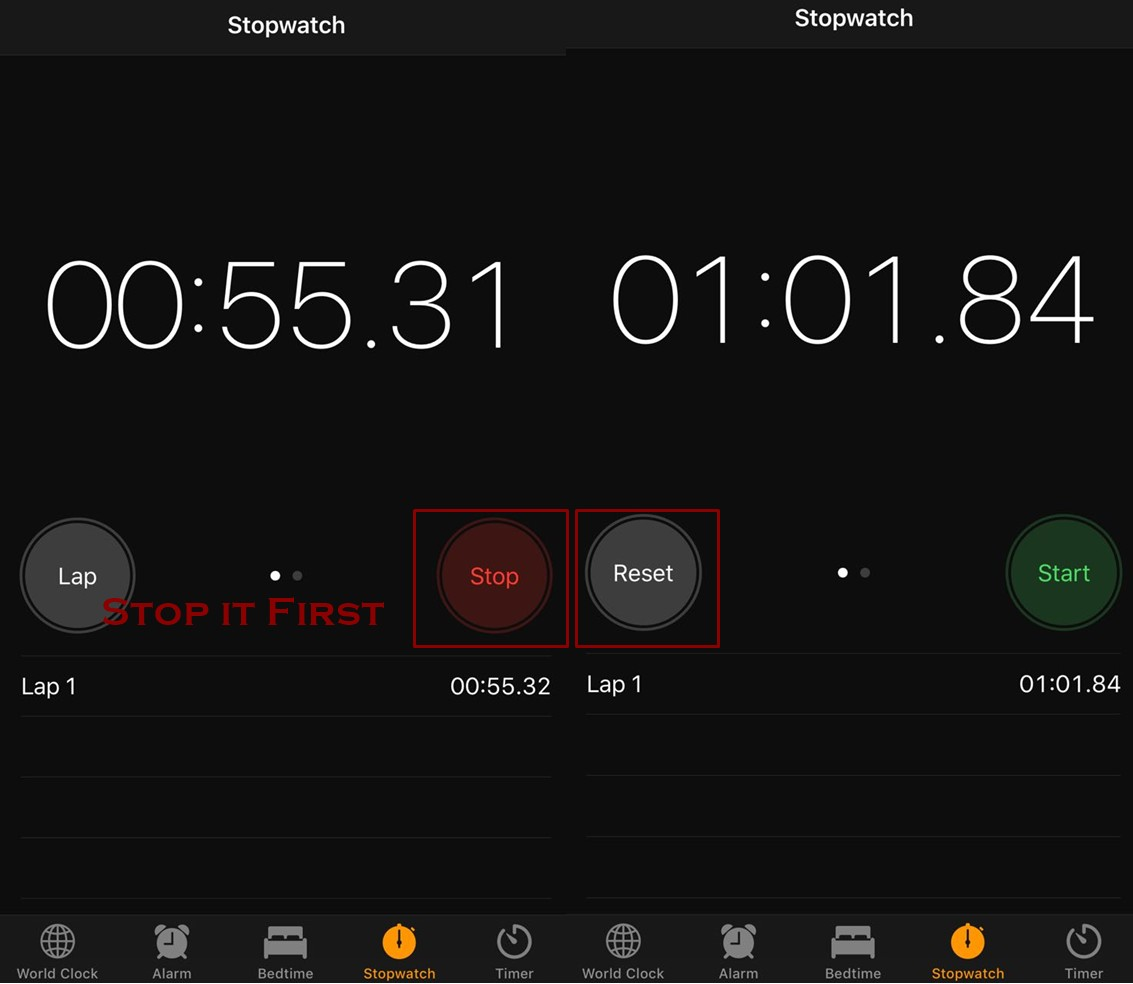 How to Clear the Stopwatch on your iPhone - How to use Stopwatch on iPhone
