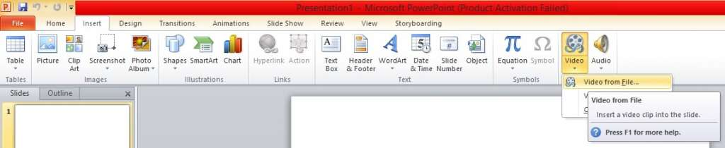 add a video in powerpoint presentation from pc 1024x210 - 4 ways to add a youtube video in Powerpoint presentation