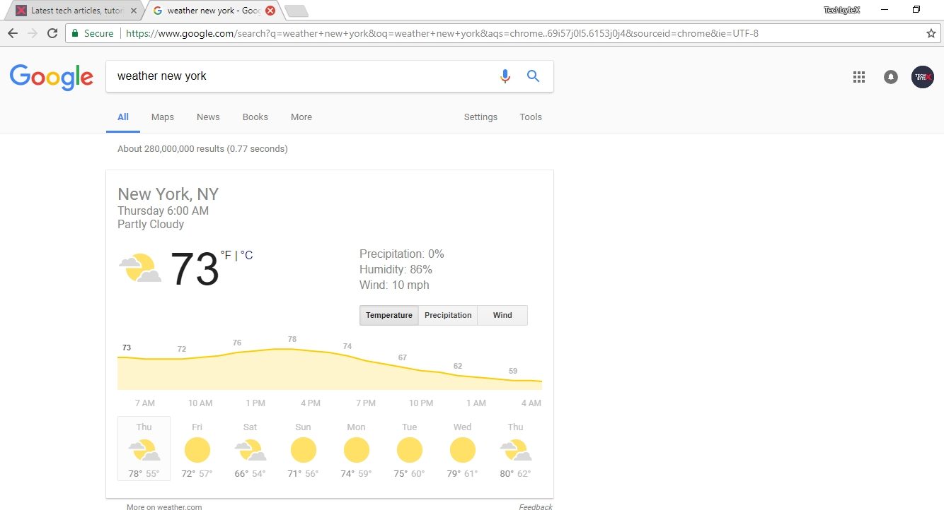 google weather trick