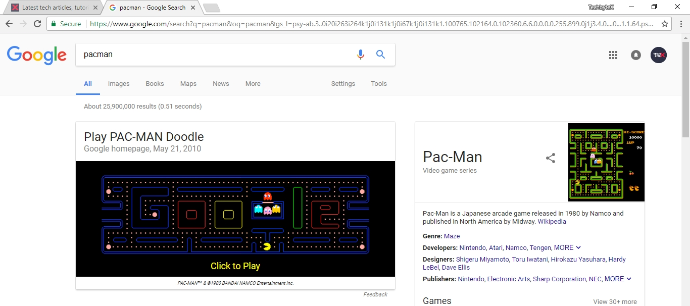 play pacman on google