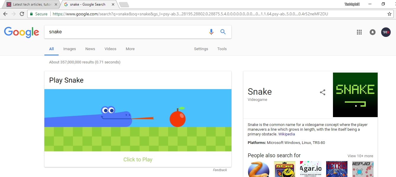 play snake game on google