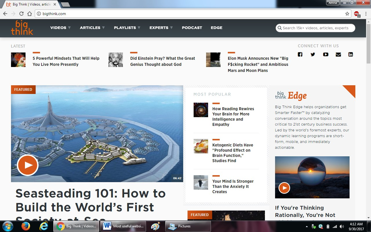 32. bigthink.com - 100+ most useful websites list we are not yet familiar with