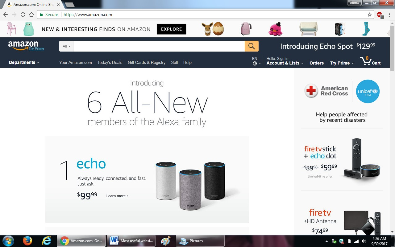 43. amazon.com - 100+ most useful websites list we are not yet familiar with