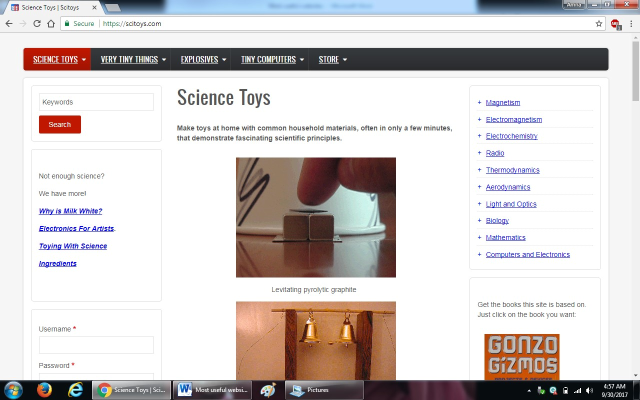 64. scitoys.com - 100+ most useful websites list we are not yet familiar with