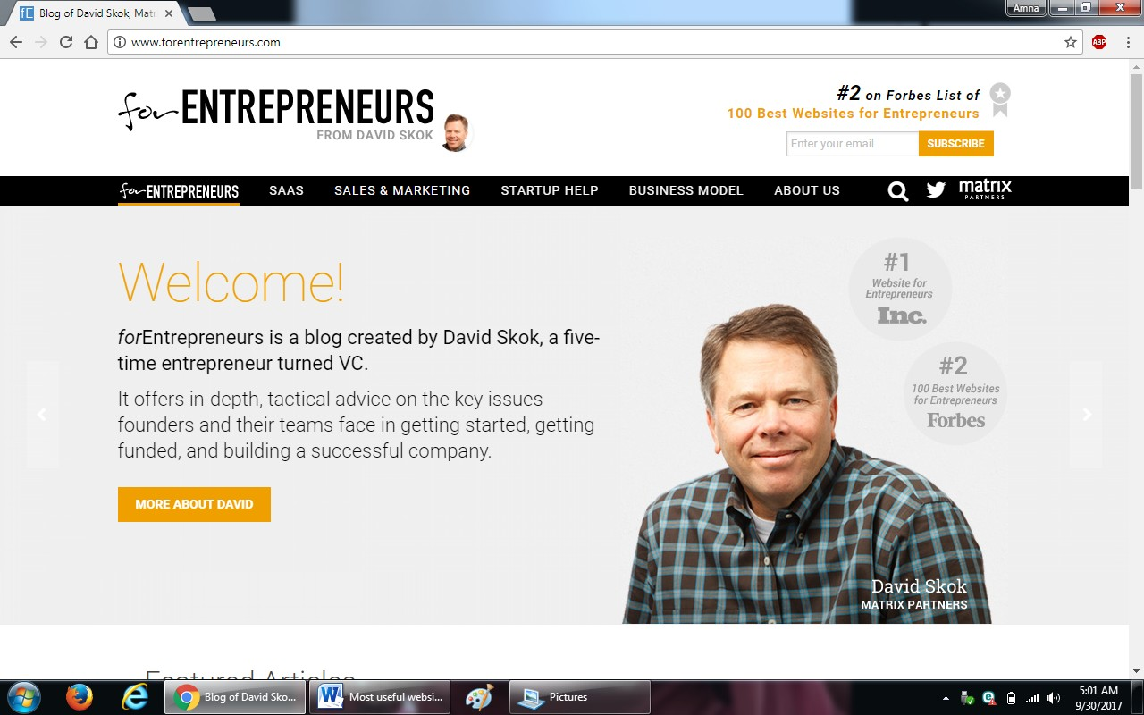 67. forentrepreneurs.com - 100+ most useful websites list we are not yet familiar with