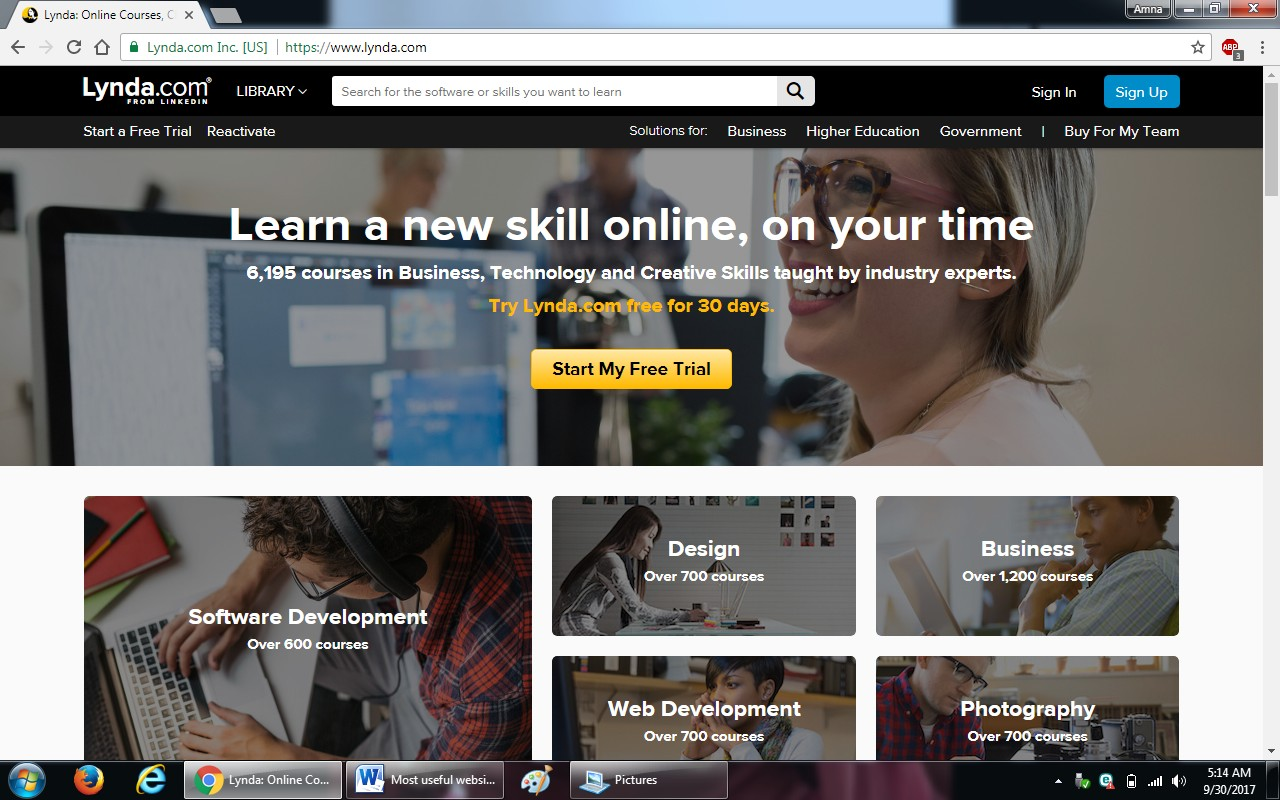 76. lynda.com - 100+ most useful websites list we are not yet familiar with