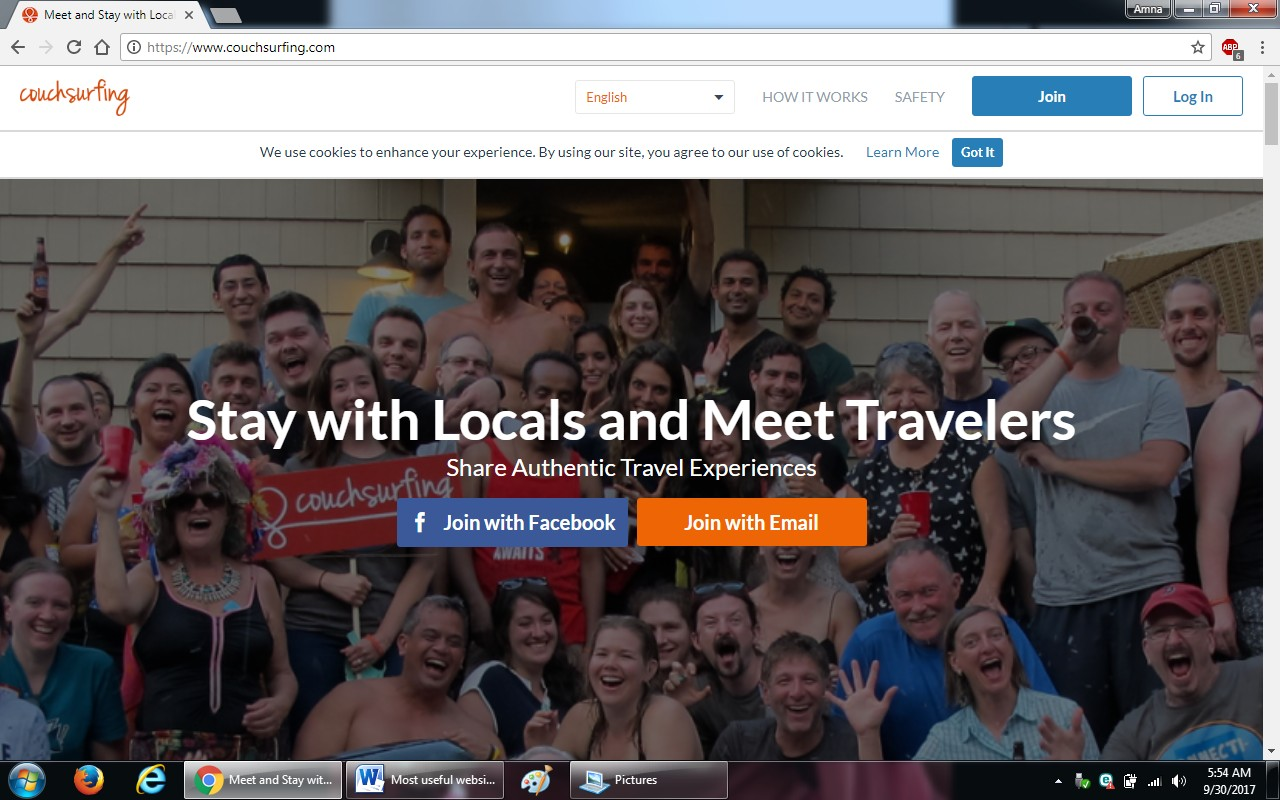 94. couchsurfing.com - 100+ most useful websites list we are not yet familiar with