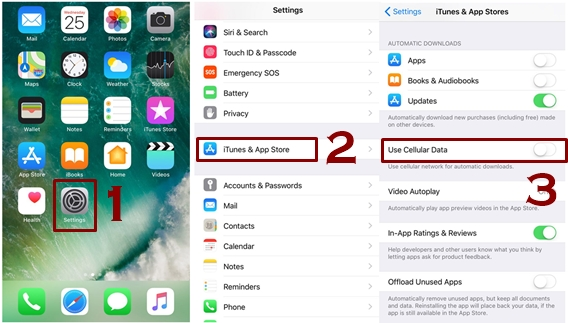 Switch Off the Automatic Apps Downloading - Best ways to save cellular data on iPhone