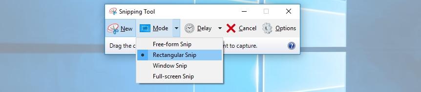 select rectangular snip - How to take screenshots in Laptop on windows 10