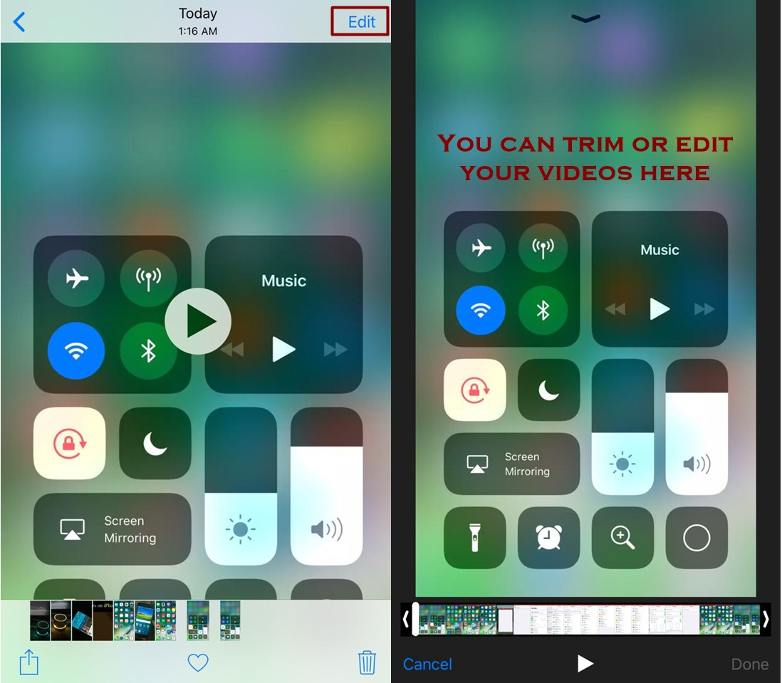 how to edit recorded videos on iphone - Everything About Screen Recording Feature in IOS 11