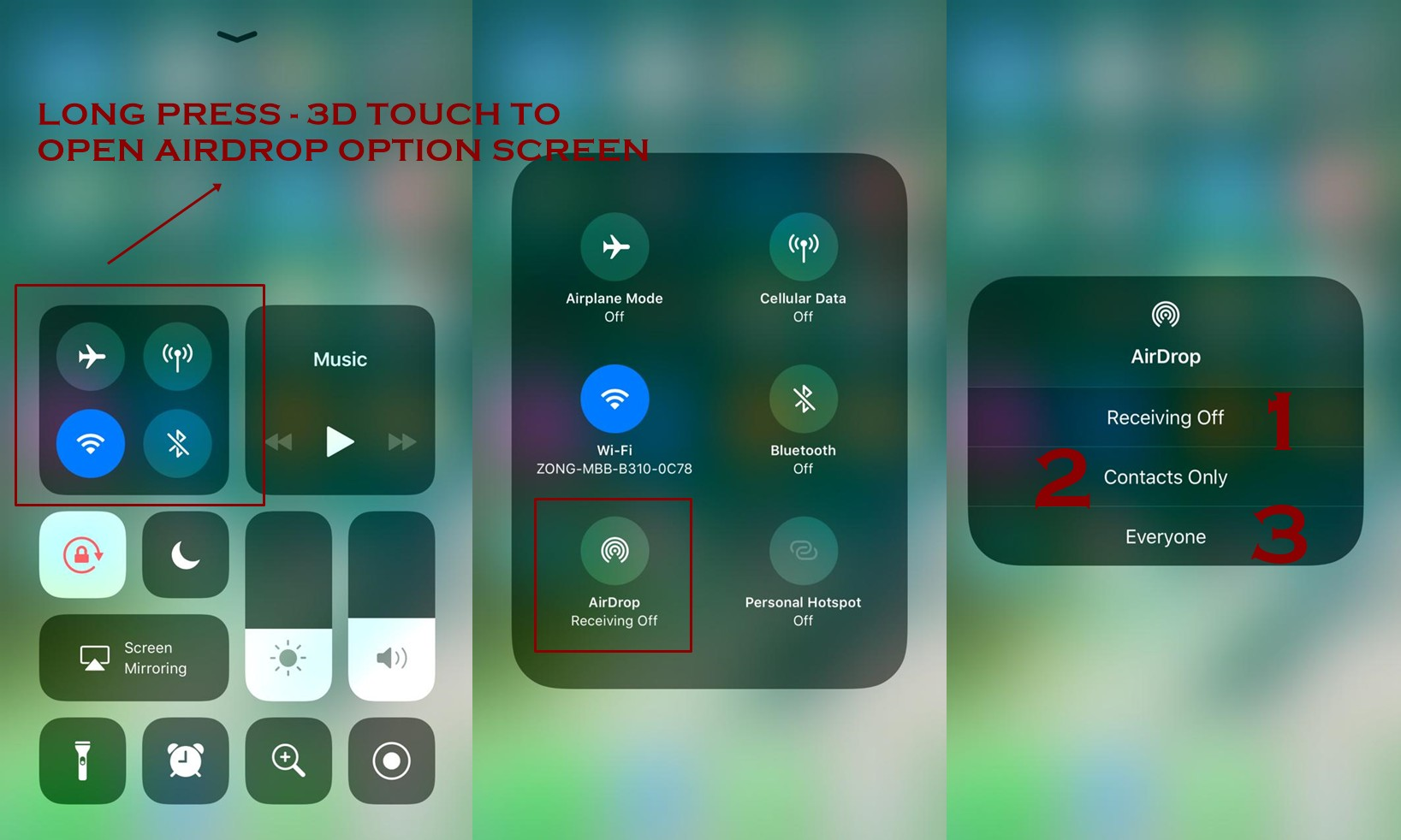 How to use airdrop on iphone ios 11 techbyex click to see full size picture ccuart Images
