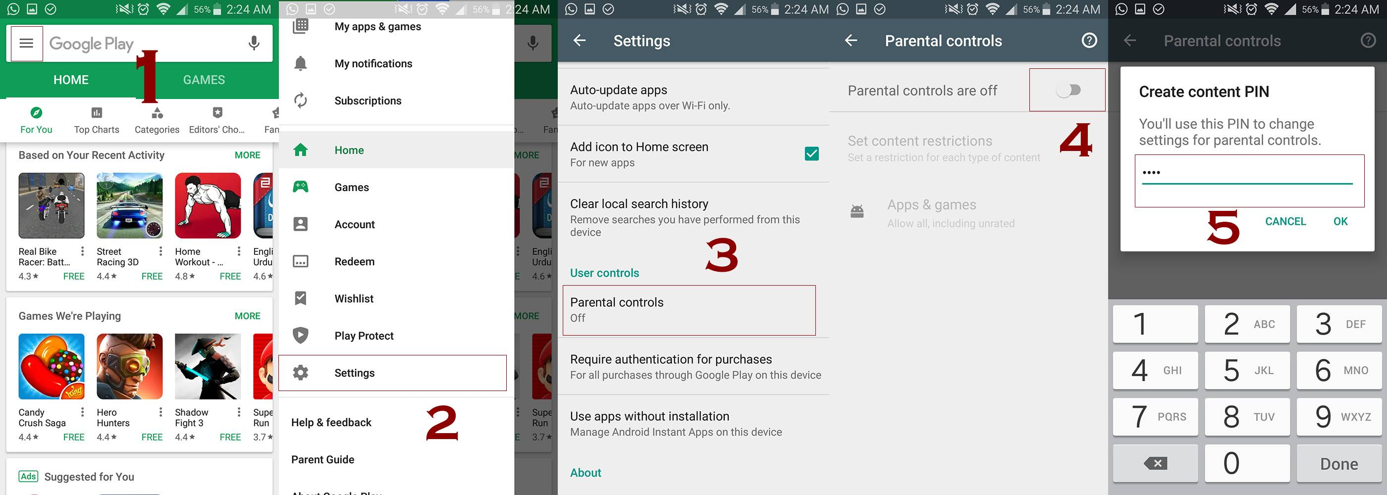 parental controls in play store - Homepage