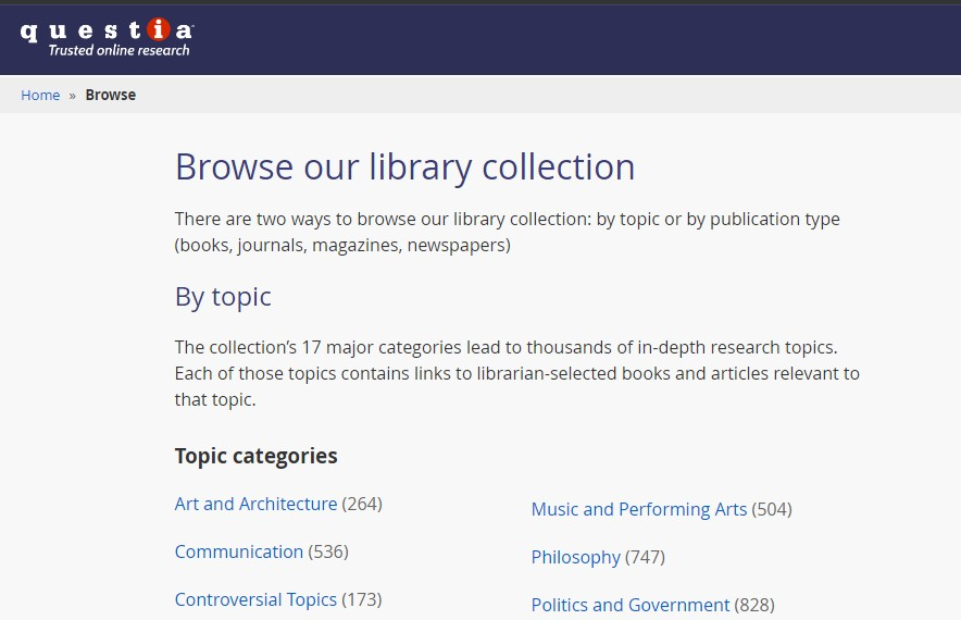 15 Questia Public Library - Best sites to download PDF Books for free